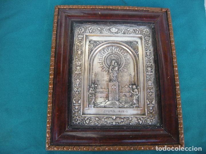 Antigüedades: CUADRO DE CHAPA VIRGEN DEL PILAR. - Foto 6 - 220790753