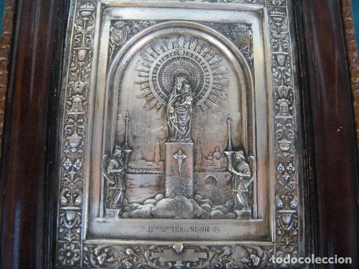 CUADRO DE CHAPA VIRGEN DEL PILAR. (Antigüedades - Religiosas - Varios)