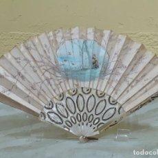 Antigüedades: ABANICO DE NACAR PINTADO A MANO SOBRETELA (3249). Lote 220829885