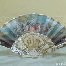 Antigüedades: ABANICO DE NACAR PINTADO A MANO DOBLE CARA (3250). Lote 220830161