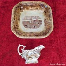 Antigüedades: BANDEJA Y SALSERA.CON MARCAS PICKMAN. SERIE SEVILLA. ESPAÑA. SIGLO XIX. Lote 220837191