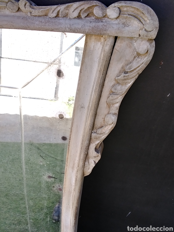Antigüedades: Espejo de madera en blanco roto con patina - Foto 4 - 220913606
