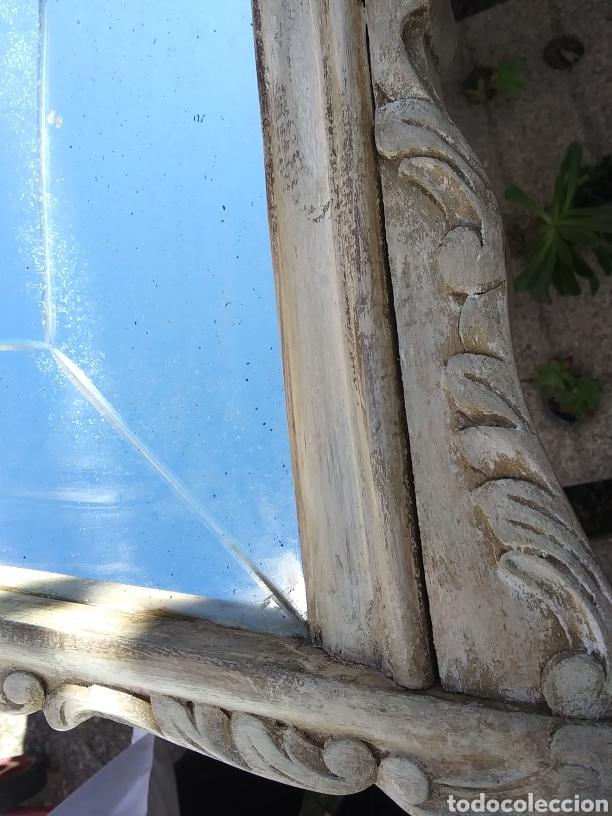 Antigüedades: Espejo de madera en blanco roto con patina - Foto 5 - 220913606