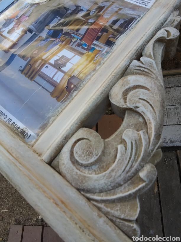 Antigüedades: Espejo de madera en blanco roto con patina - Foto 6 - 220913606