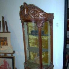 Antiquités: VITRINA MODERNISTA MADERA DE CAOBA, CRISTALES CURVOS.. Lote 220937442