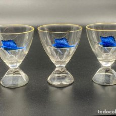 Antigüedades: ART DECO MOSER ENAMELED SAIL/SWORD BAR GLASSES , 3 COPAS ART DECO. Lote 220957661