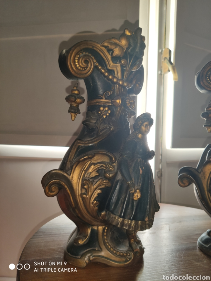 Antigüedades: PAREJA DE JARRONES NUPCIALES SARREGUEMINES, FRANCIA SOBRE FINALES DEL 1.700 PRINCIPIOS DEL 1.800. - Foto 6 - 220960885