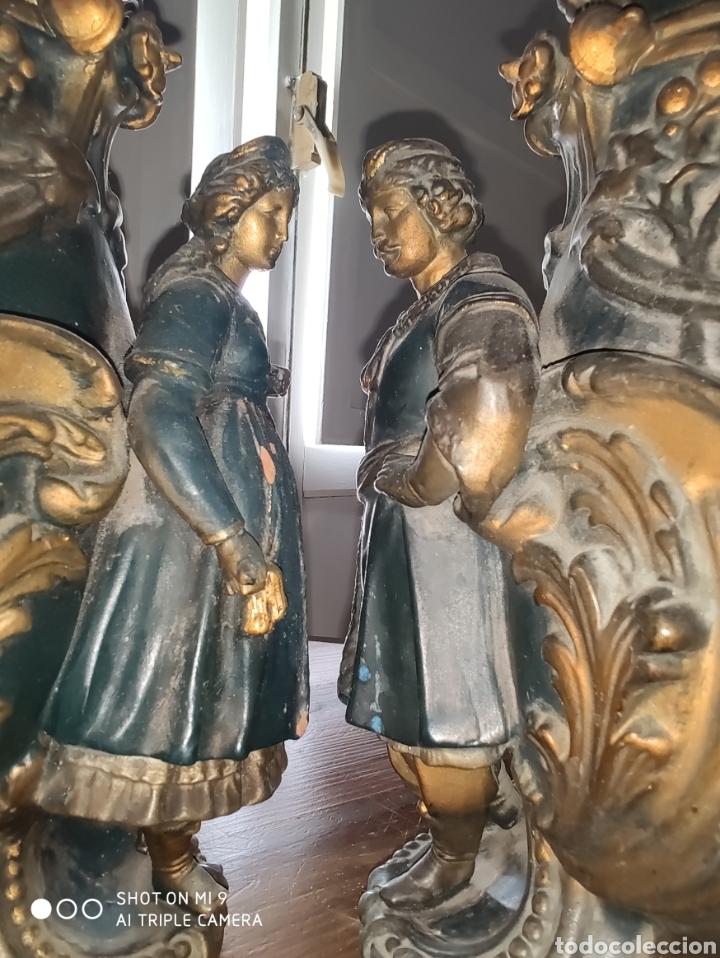 Antigüedades: PAREJA DE JARRONES NUPCIALES SARREGUEMINES, FRANCIA SOBRE FINALES DEL 1.700 PRINCIPIOS DEL 1.800. - Foto 22 - 220960885