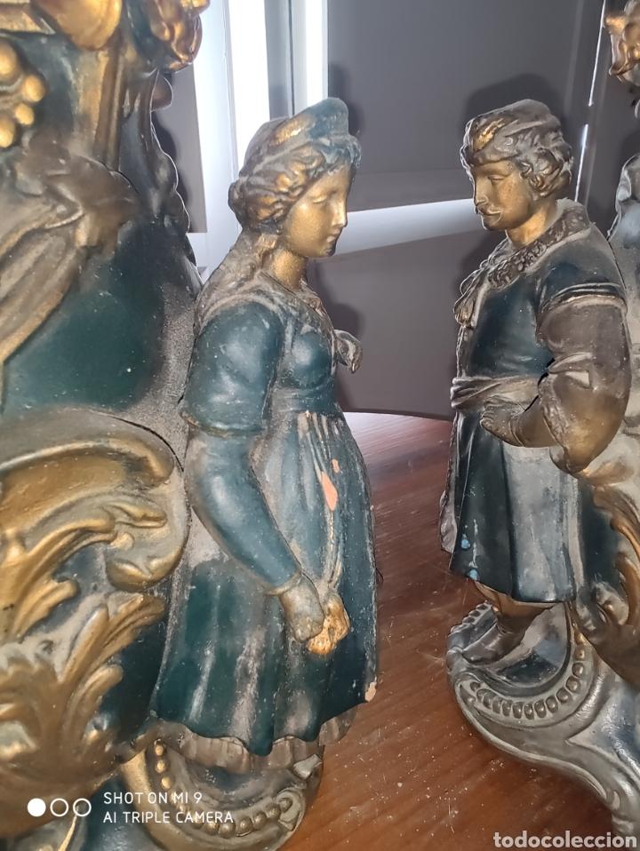 Antigüedades: PAREJA DE JARRONES NUPCIALES SARREGUEMINES, FRANCIA SOBRE FINALES DEL 1.700 PRINCIPIOS DEL 1.800. - Foto 24 - 220960885