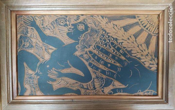 ESPECTACULAR TABLA PLACA BARRO TERRACOTA ESGRAFIADA FIRMADA ALFARERO PEDRO MERCEDES 50 X 32 CM (Antigüedades - Porcelanas y Cerámicas - Otras)