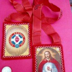 Antigüedades: PRECIOSO ESCAPULARIO ANTIGUO APOSTOLADO DE LA ORACIÓN. SAGRADO CORAZÓN DE JESÚS.. Lote 220971992