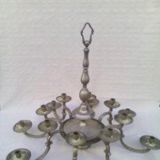 Antigüedades: ENORME LAMPARA EN LATON DE 8 BRAZOS Y 16 LUCES. Lote 221101913