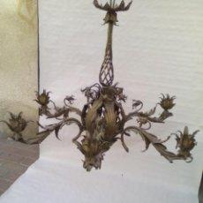 Antigüedades: LAMPARA DE IGLESIA DE BRONCE Y LATON ANTIGUA.. Lote 221146190