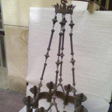 Antigüedades: LAMPARA DE IGLESIA DE BRONCE Y LATON ANTIGUA.. Lote 221146336