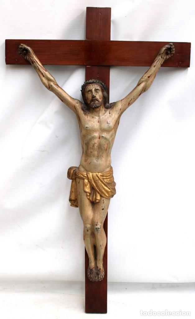 IMPORTANTE CRISTO EN HIERRO POLICROMADO DEL SIGLO XVIII (Antigüedades - Religiosas - Crucifijos Antiguos)