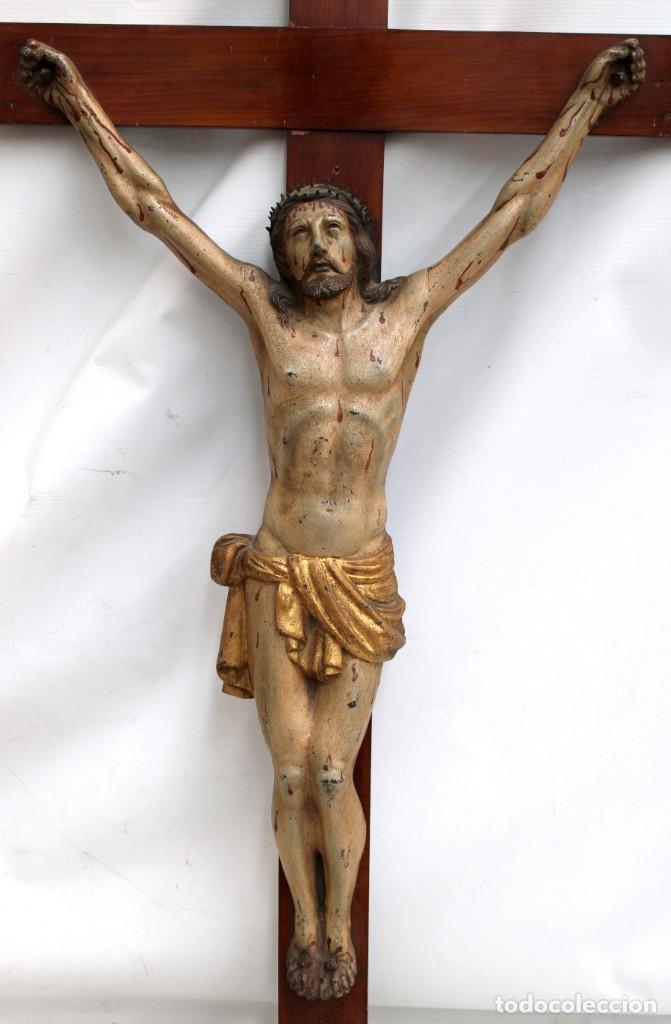Antigüedades: IMPORTANTE CRISTO EN HIERRO POLICROMADO DEL SIGLO XVIII - Foto 2 - 221231060