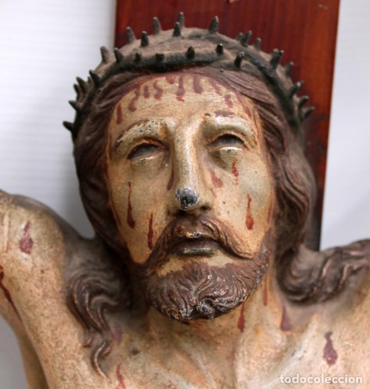 Antigüedades: IMPORTANTE CRISTO EN HIERRO POLICROMADO DEL SIGLO XVIII - Foto 5 - 221231060