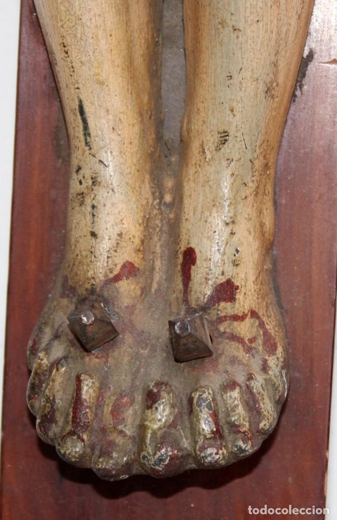 Antigüedades: IMPORTANTE CRISTO EN HIERRO POLICROMADO DEL SIGLO XVIII - Foto 11 - 221231060