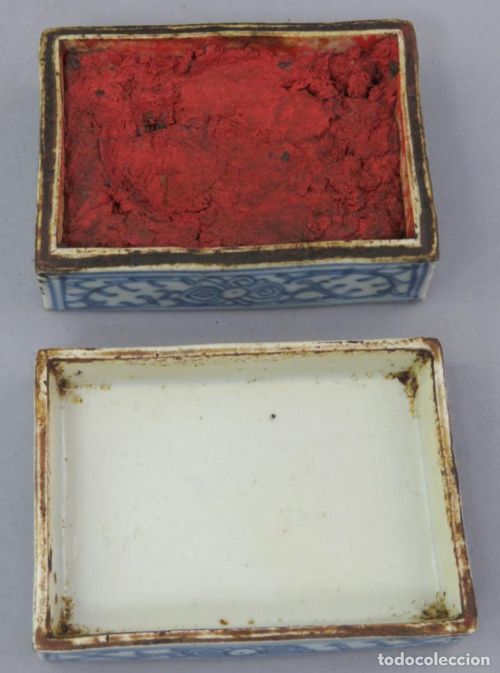 Antigüedades: Caja de cerámica China Blue and white pintada en azul con decoración vegetal siglo XIX - Foto 5 - 221246490