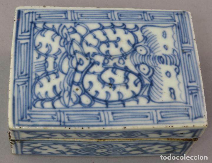 Antigüedades: Caja de cerámica China Blue and white pintada en azul con decoración vegetal siglo XIX - Foto 6 - 221246490