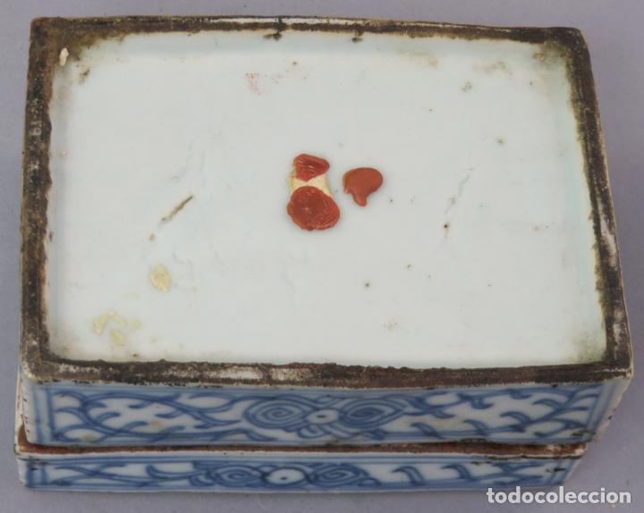 Antigüedades: Caja de cerámica China Blue and white pintada en azul con decoración vegetal siglo XIX - Foto 8 - 221246490