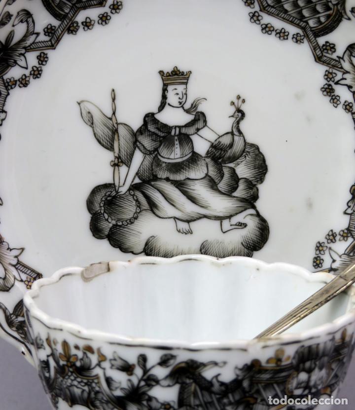 Antigüedades: Plato y cuenco porcelana Compañía de Indias en grisalla y oro periodo Qianlong finales siglo XVIII - Foto 2 - 221256008