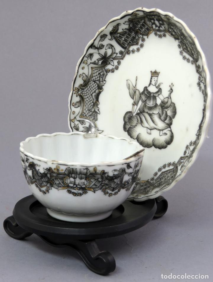Antigüedades: Plato y cuenco porcelana Compañía de Indias en grisalla y oro periodo Qianlong finales siglo XVIII - Foto 3 - 221256008