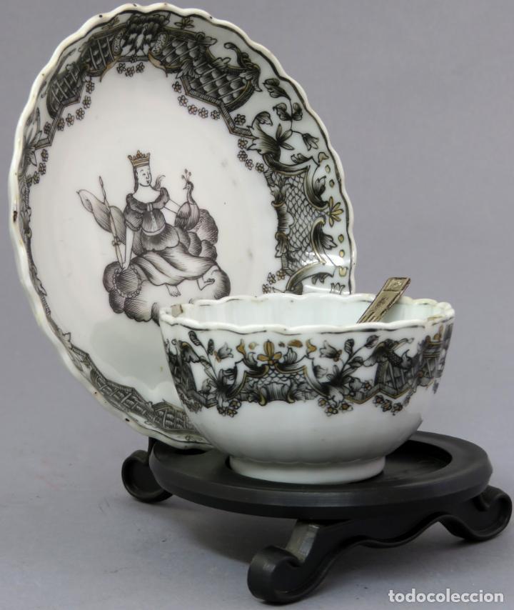 Antigüedades: Plato y cuenco porcelana Compañía de Indias en grisalla y oro periodo Qianlong finales siglo XVIII - Foto 7 - 221256008