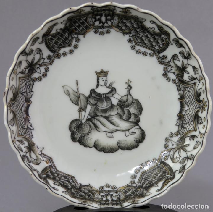 Antigüedades: Plato y cuenco porcelana Compañía de Indias en grisalla y oro periodo Qianlong finales siglo XVIII - Foto 8 - 221256008