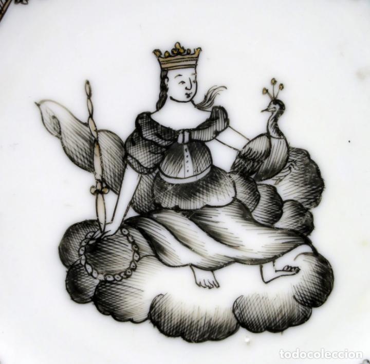 Antigüedades: Plato y cuenco porcelana Compañía de Indias en grisalla y oro periodo Qianlong finales siglo XVIII - Foto 9 - 221256008