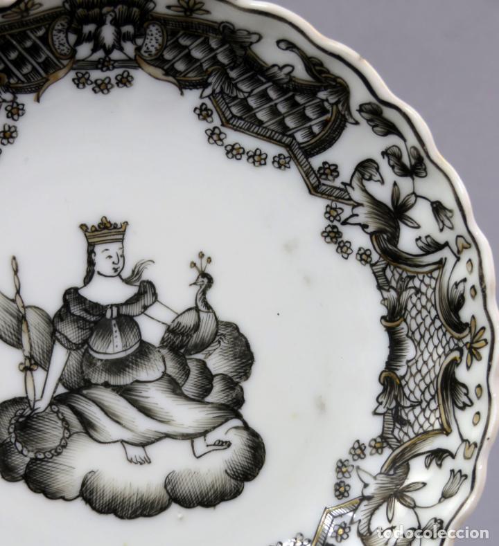 Antigüedades: Plato y cuenco porcelana Compañía de Indias en grisalla y oro periodo Qianlong finales siglo XVIII - Foto 11 - 221256008