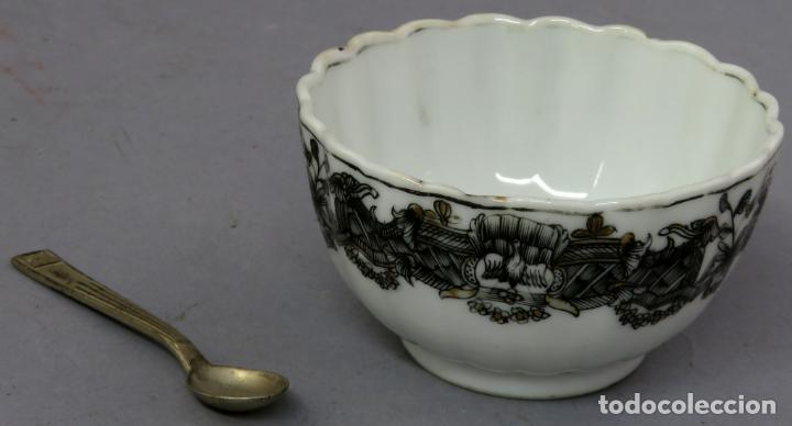 Antigüedades: Plato y cuenco porcelana Compañía de Indias en grisalla y oro periodo Qianlong finales siglo XVIII - Foto 12 - 221256008
