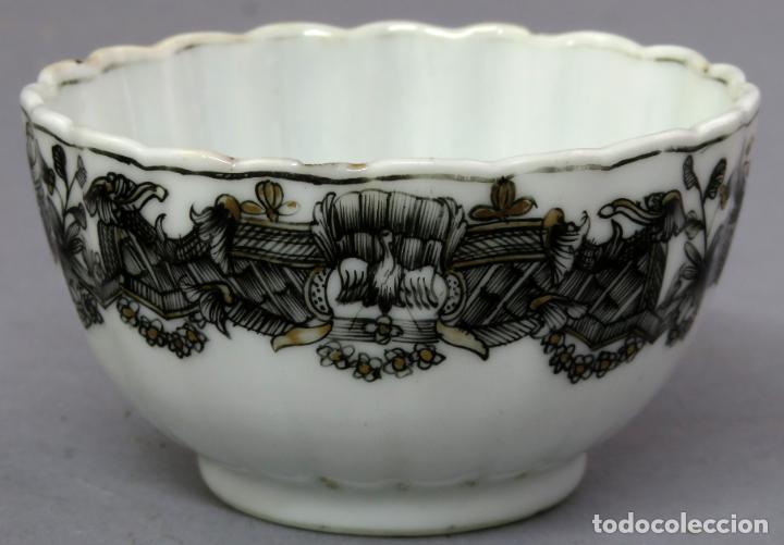 Antigüedades: Plato y cuenco porcelana Compañía de Indias en grisalla y oro periodo Qianlong finales siglo XVIII - Foto 13 - 221256008
