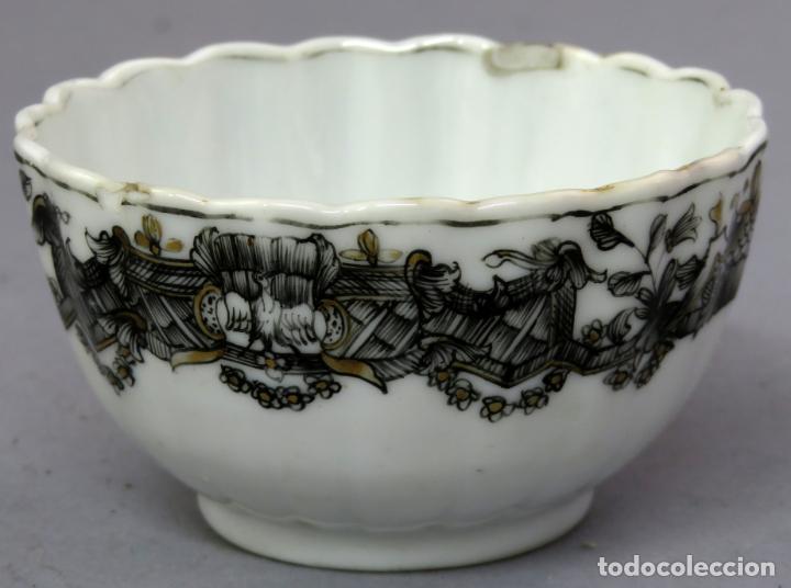 Antigüedades: Plato y cuenco porcelana Compañía de Indias en grisalla y oro periodo Qianlong finales siglo XVIII - Foto 14 - 221256008