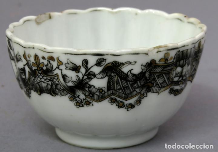 Antigüedades: Plato y cuenco porcelana Compañía de Indias en grisalla y oro periodo Qianlong finales siglo XVIII - Foto 15 - 221256008