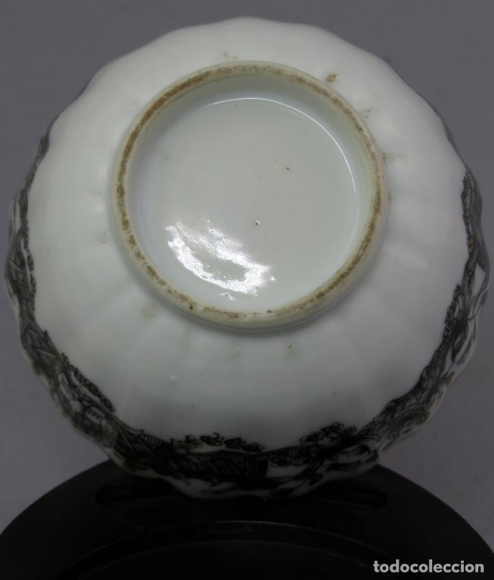 Antigüedades: Plato y cuenco porcelana Compañía de Indias en grisalla y oro periodo Qianlong finales siglo XVIII - Foto 17 - 221256008