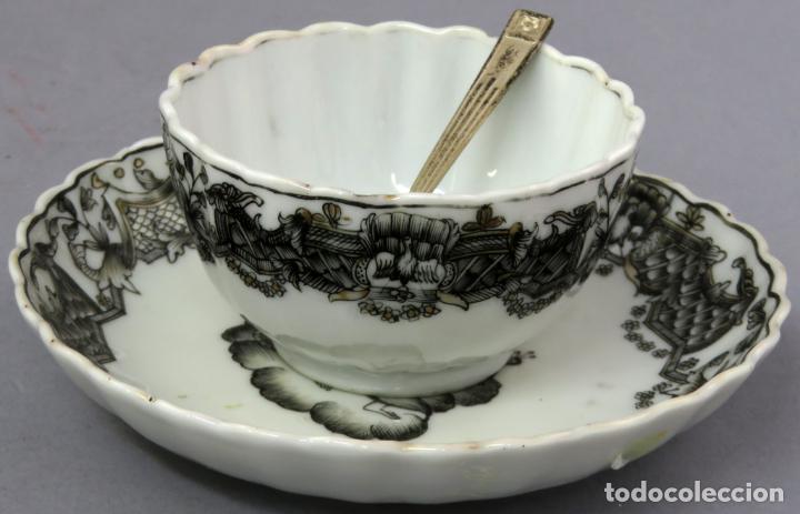 Antigüedades: Plato y cuenco porcelana Compañía de Indias en grisalla y oro periodo Qianlong finales siglo XVIII - Foto 18 - 221256008
