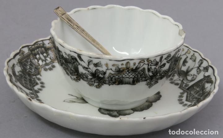 Antigüedades: Plato y cuenco porcelana Compañía de Indias en grisalla y oro periodo Qianlong finales siglo XVIII - Foto 19 - 221256008