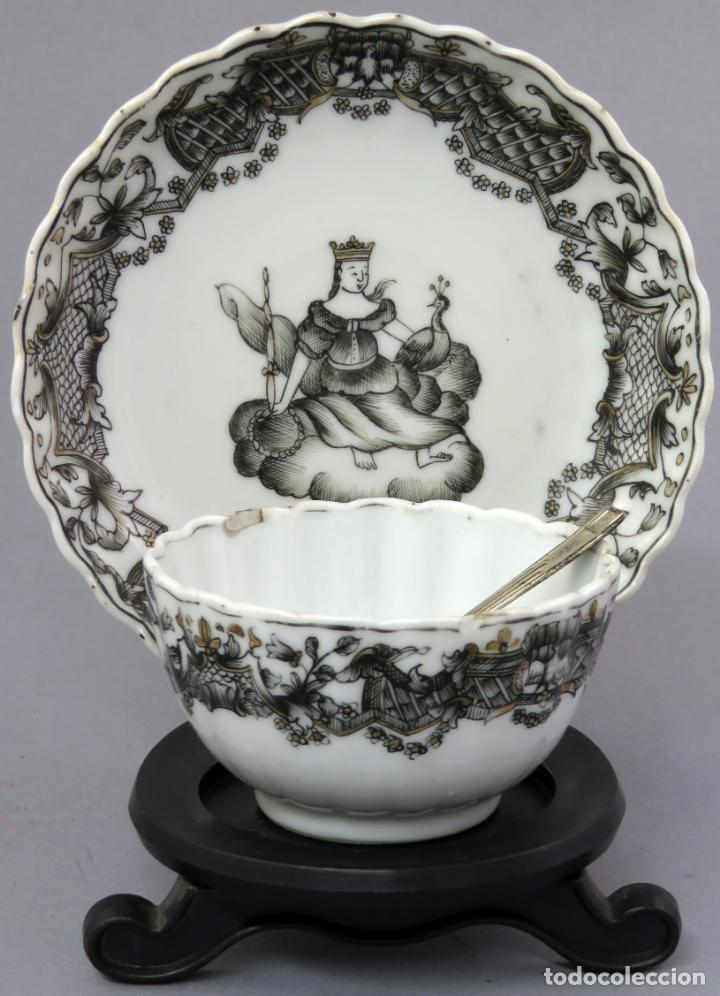 PLATO Y CUENCO PORCELANA COMPAÑÍA DE INDIAS EN GRISALLA Y ORO PERIODO QIANLONG FINALES SIGLO XVIII (Antigüedades - Porcelanas y Cerámicas - China)