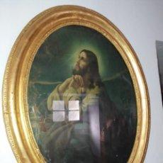 Antigüedades: MARCO DORADO EN ÓVALO CON LÁMINA CORAZÓN DE JESÚS. Lote 221261613