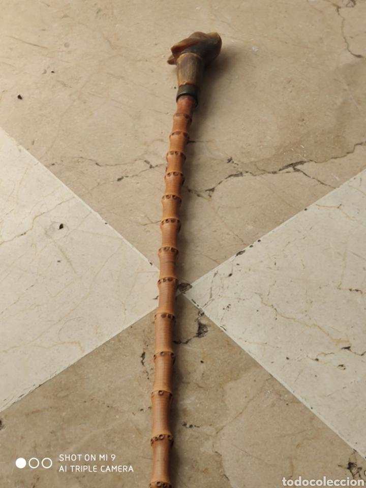 Antigüedades: PRECIOSA FUSTA, TALLA CUERNO Y BAMBÚ, CARA DE LOBO, AÑOS 50. - Foto 4 - 221268246