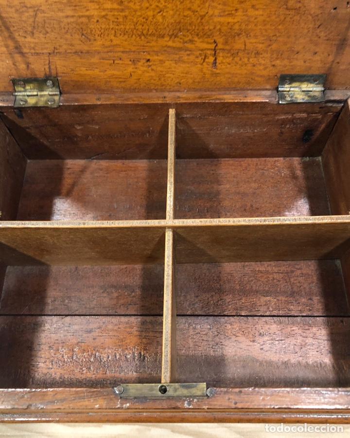 Antigüedades: Preciosa caja-costurero, Victoriana de caoba, de mediados de S. XIX. - Foto 6 - 221298456