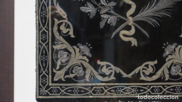 Antigüedades: RESPOTERO DE HERMANDAD O SOCIEDAD SECRETA. HILO DE PLATA SOBRE TERCIOPELO. SIGLO XIX - Foto 4 - 221336020