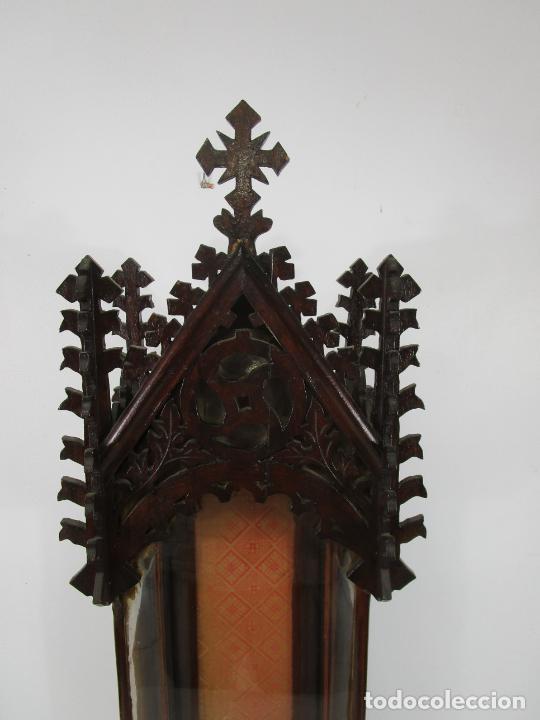 Antigüedades: Antigua Capilla Neogótica - Vitrina - Madera de Haya - Ideal Virgen, Santo, etc - Finales S. XIX - Foto 4 - 221355657