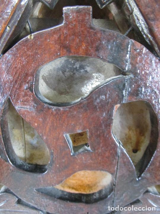 Antigüedades: Antigua Capilla Neogótica - Vitrina - Madera de Haya - Ideal Virgen, Santo, etc - Finales S. XIX - Foto 9 - 221355657
