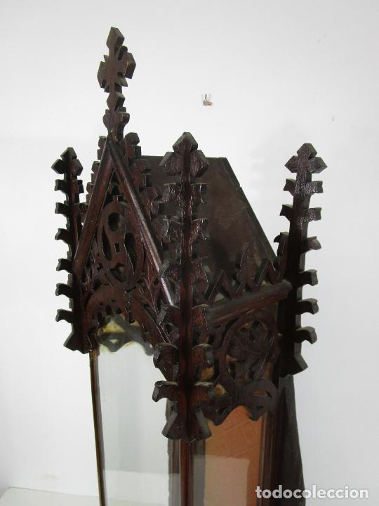 Antigüedades: Antigua Capilla Neogótica - Vitrina - Madera de Haya - Ideal Virgen, Santo, etc - Finales S. XIX - Foto 13 - 221355657