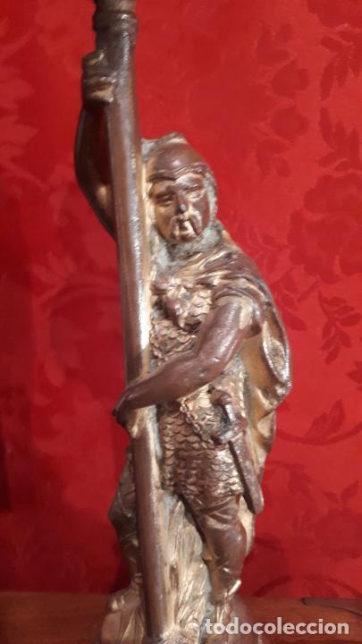 Antigüedades: Pareja de candelabros del siglo XIX. Estaño dorado. - Foto 7 - 221386825