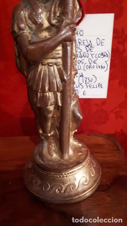 Antigüedades: Pareja de candelabros del siglo XIX. Estaño dorado. - Foto 11 - 221386825