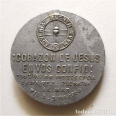 Antigüedades: ANTIGUA MEDALLA RELIGIOSA. CORAZÓN DE JESÚS EN VOS CONFÍO. 300 DÍAS DE INDULGENCIA. PÍO X. Lote 221391331