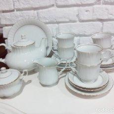 Antigüedades: JUEGO DE CAFÉ PORCELANA. 6 SERVICIOS. CHODZIEZ.. Lote 221395440